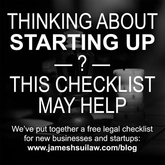 Thinking about Starting Up? This Checklist may Help. We've put together a free legal checklist for new businesses and startups.